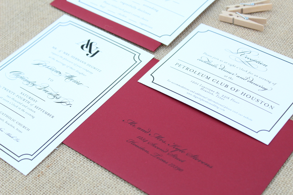 black and red invitation suite