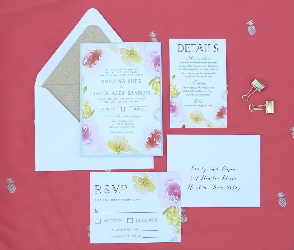 summer floral invitation suite