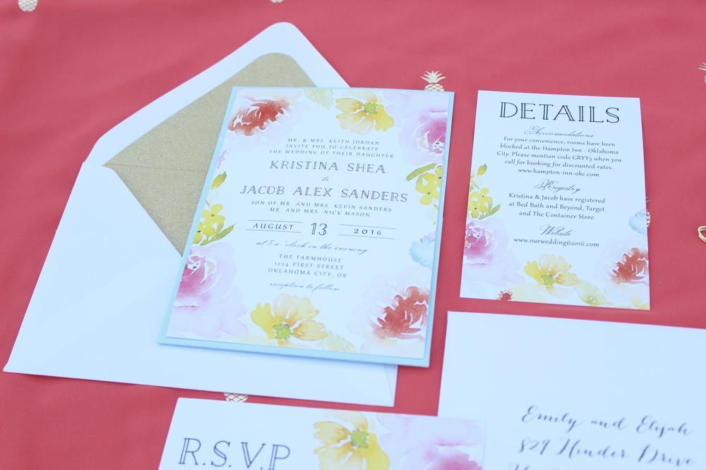 bright floral wedding invitation suite