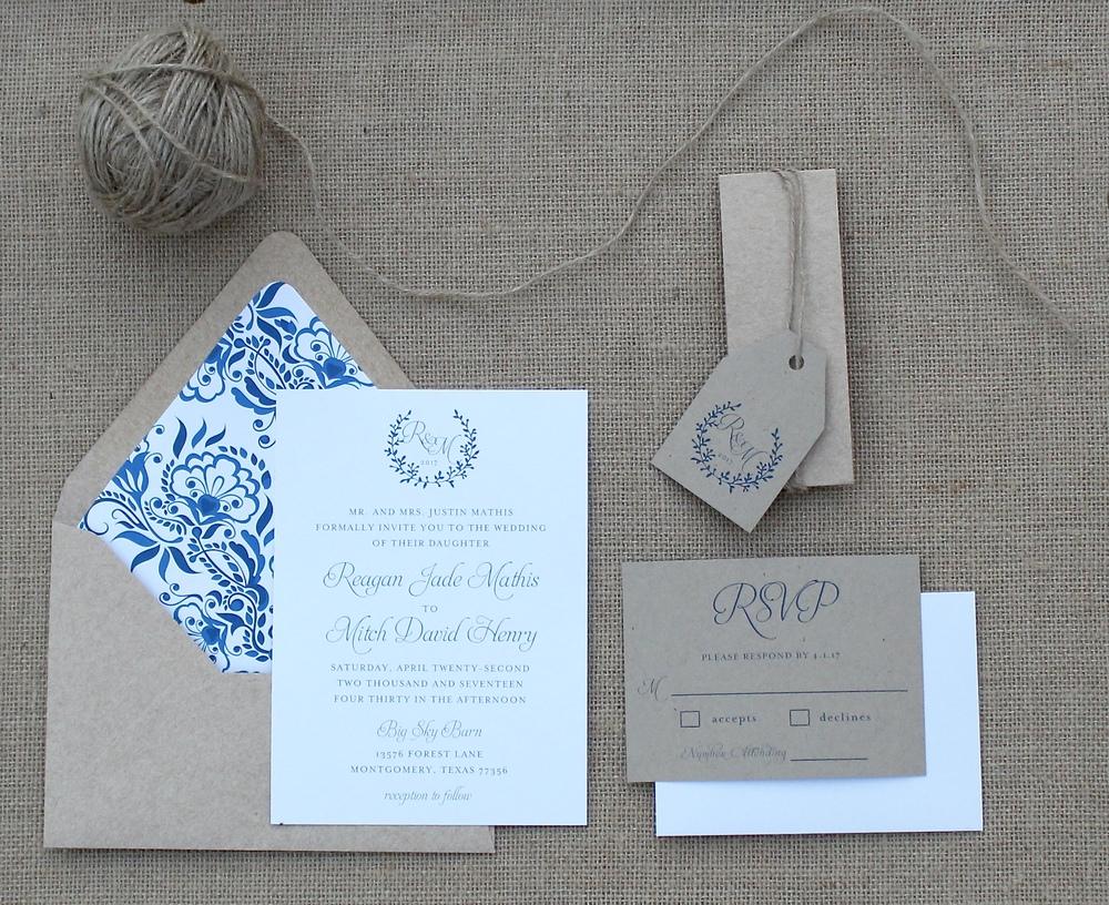 rustic navy monogram wedding invitation suite