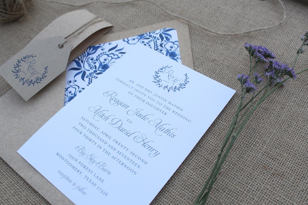 rustic navy floral wedding invitation suite