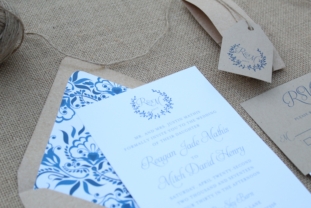 rustic navy floral wedding invitation suite with twine tag