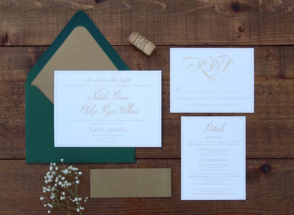 elegant gold and green wedding invitation suite