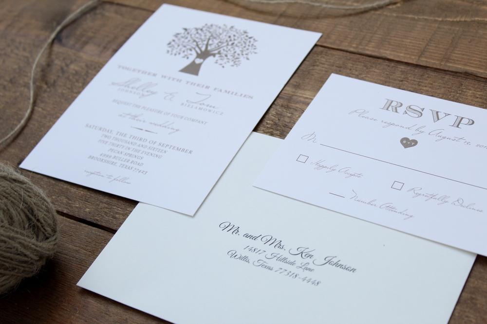 tree wedding invitation with addressed envelope