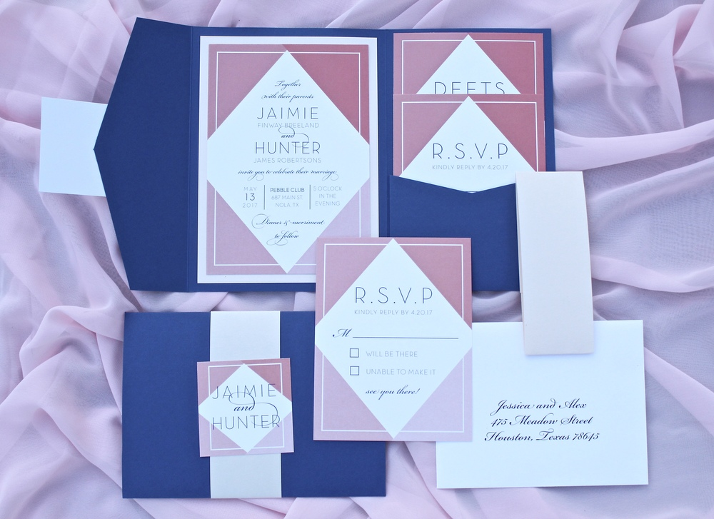 navy and coral geometric invitation suite