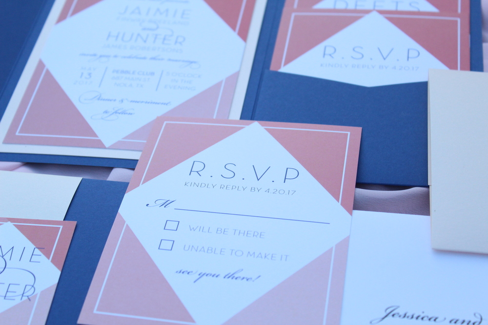 navy and coral geometric wedding invitation suite