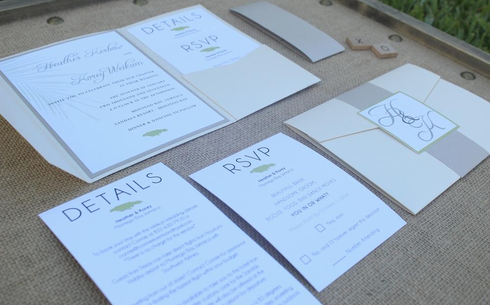 destination wedding pocket invitation suite