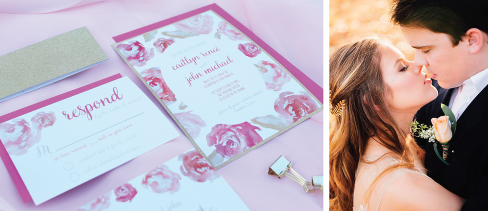 pink floral and gold glitter wedding invitation
