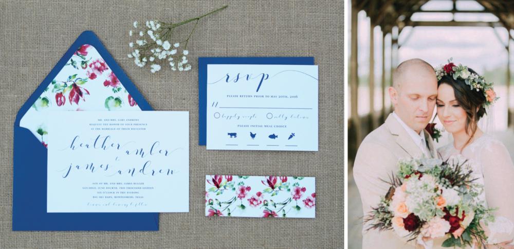 navy floral calligraphy wedding invitation
