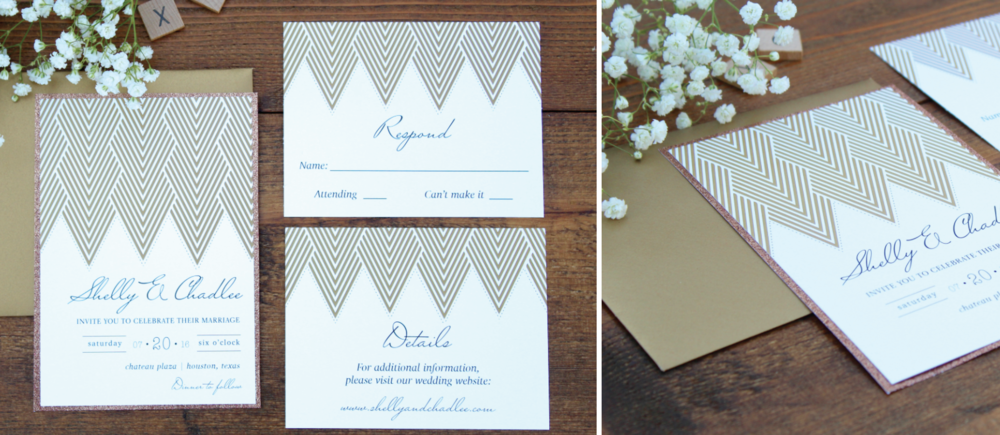copper geometric wedding invitation