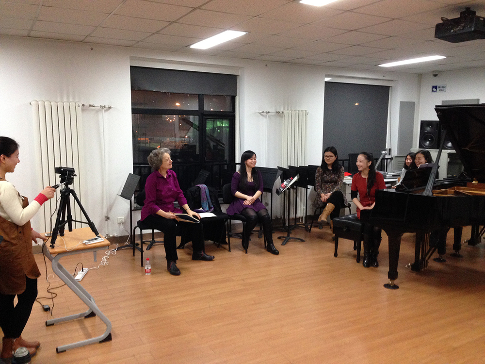Beijing Residency, 2014   Jeanne Kierman Fischer coaching student chamber music group at China Conservatory in Beijing, 2014