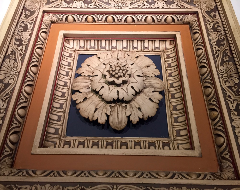 A restored panel from the original coffered ceiling of F.W. Woolworth's private office, which will be relocated to decorate the private lobby.