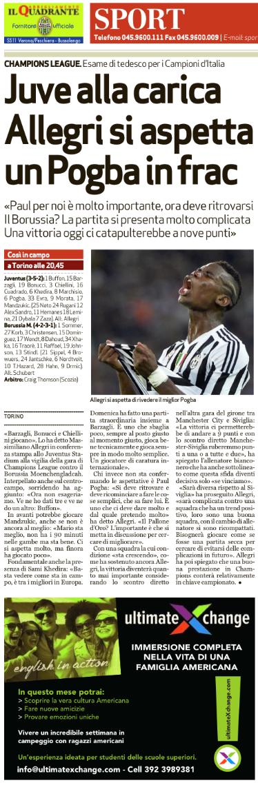 L'Arena Verona newspaper 10/21/2015 (pg. 38)