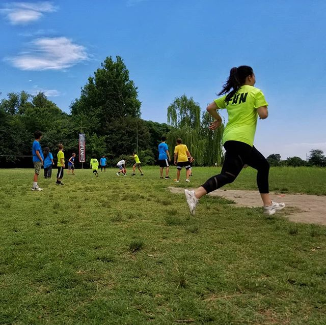 Erin sprinting to the base during our girls vs boys kickball game. #girlsforthewin #ultimateXchange #englishinaction #americanenglishFuncamp