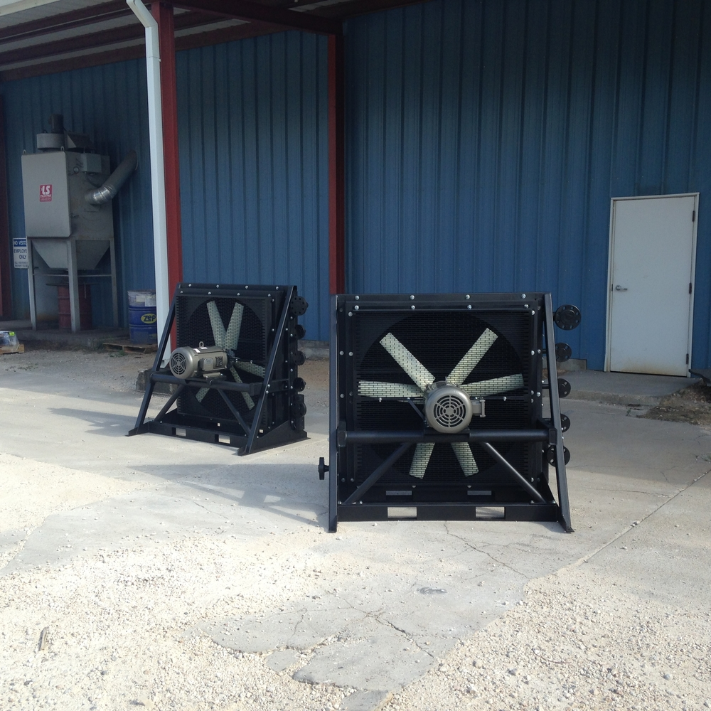 Three stage ASME gas coolers for a compression package.