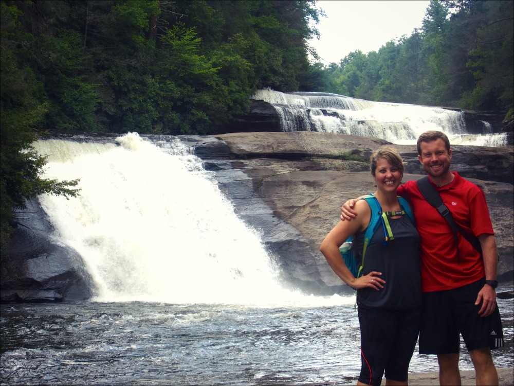 Brian and Bethany doing what they love, hiking in the mountains. (Picture taken in Triple Falls, NC)