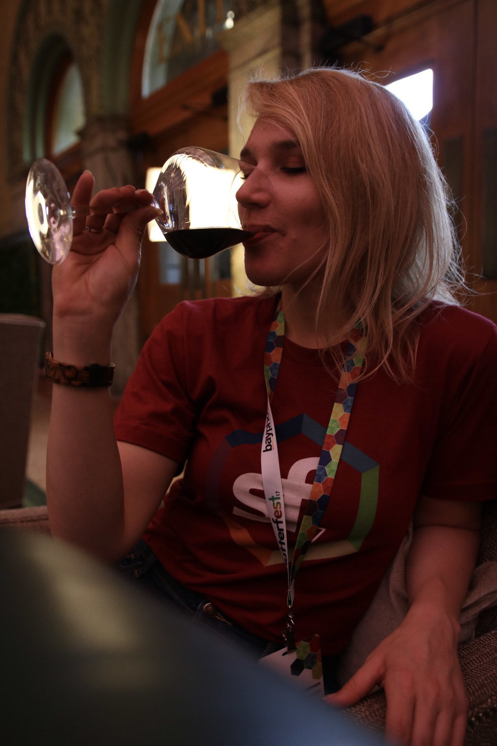 Enjoying a glass of wine at the end of the day! Photo by Craig Warnhoff
