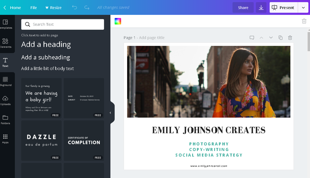 Canva is a free online design software that offers both DIY design and customizable templates for advertisements, brochures, flyers, and more