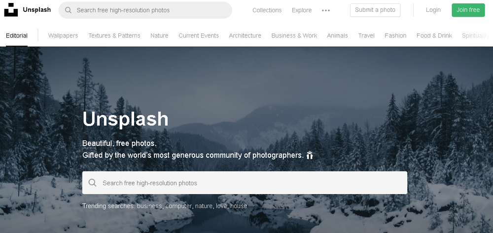 Unsplash    is a website dedicated to sharing of stock photography that has been donated by photographers around the world.