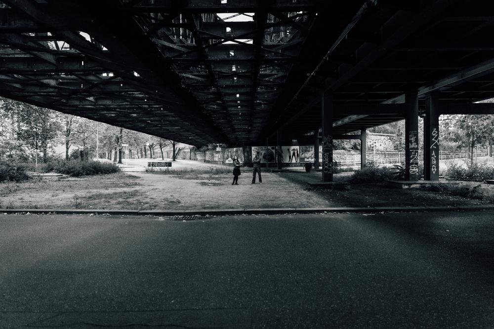 under a bridge....