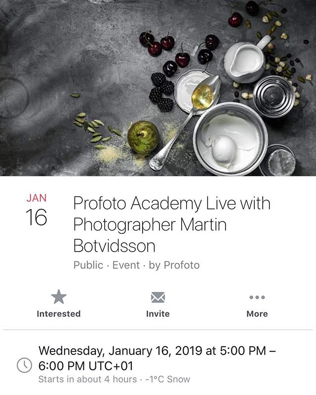 People! Today you can find me live at Profoto Academy. Don't forget to tune in at CET 5pm.