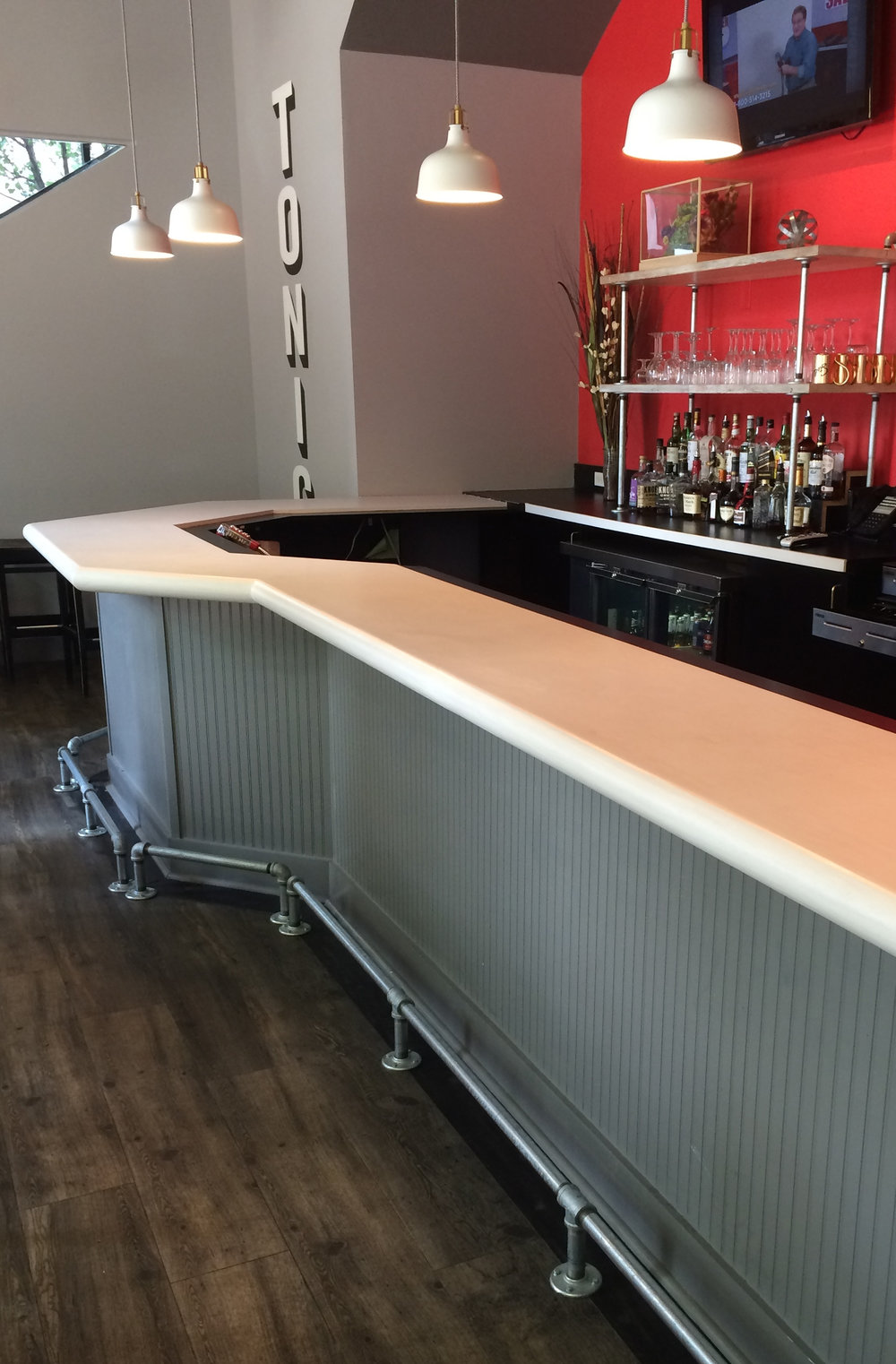 Backbar Shelves And Footrails For Tonic Bar U0026 Grill In Pittsburghu0027s  Cultural District. Whitewashed Salvaged Pine Shelves With Galvanized Steel  Pipe Uprights ...
