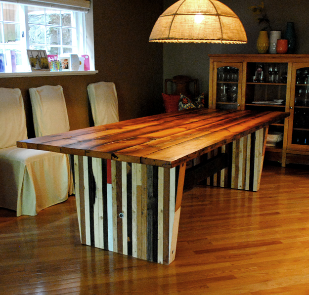 Reclaimed Fir Plank Dining Table With 2 X 4 Slab Trestles.