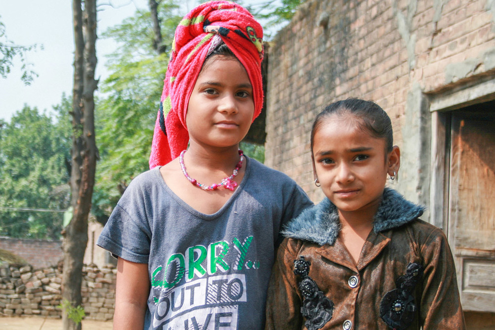 Young girls in a village in Hoshiarpur, India
