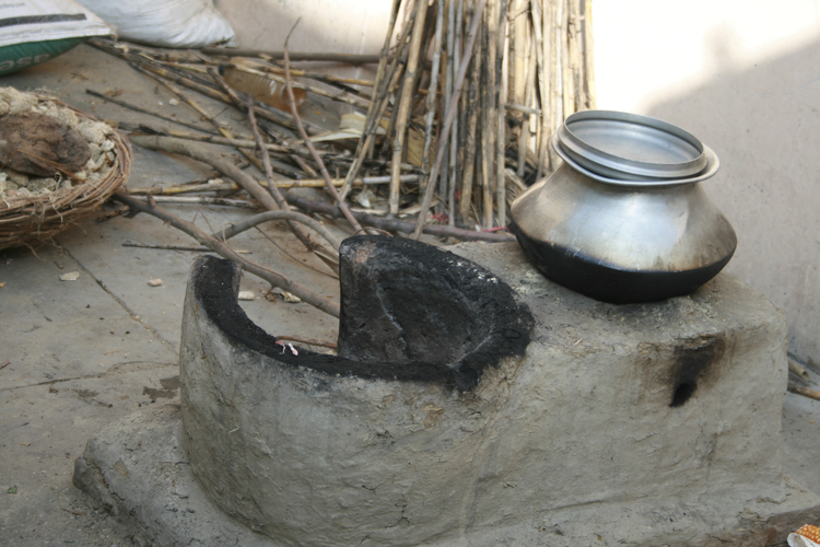Because there are no rubbish bins available, most items are either buried, or even burned—including sanitary rags—in the stove used for cooking, like the one shown here.