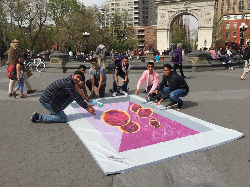 New Yorkers join the fight against pneumonia at Washington Square Park. 3D artwork by Anthony Capetto/ Art for After Hours