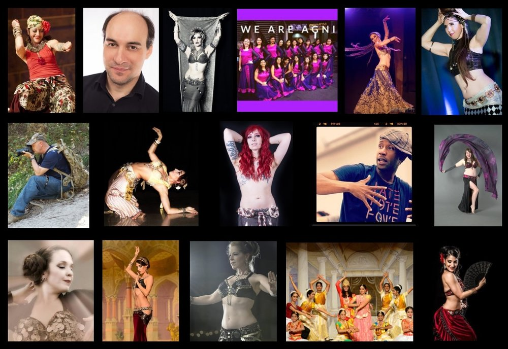Top:  Dalia Carella, Carmina Guida, Kami Liddle, Agni Dance Company, April Rose, Blair Logan   Middle:  Daniel Kelch, Devin Alfather, Draconis, Hassan Christopher, Jamie Lynn   Bottom:  Jerikaye, Kimberly Larkspur, Liora, Natyalaya School, Silvia Salamanca