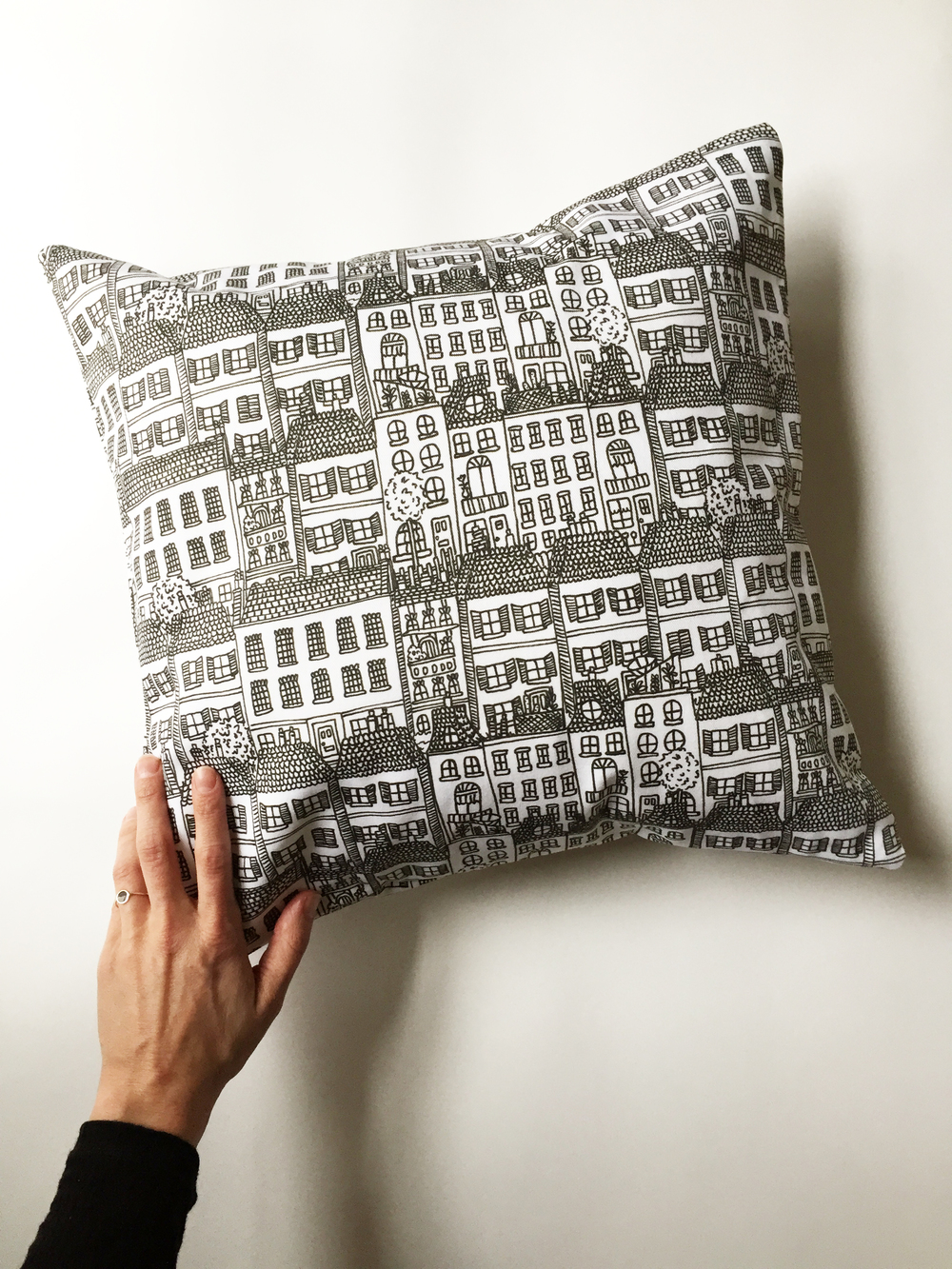 Townhouses Pillow by Kate Zaremba