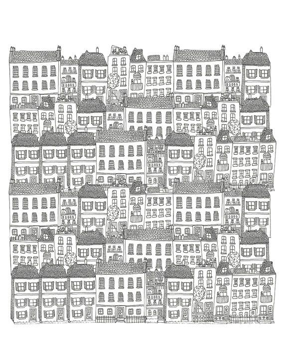 Townhouses wallpaper by  Kathryn Zaremba