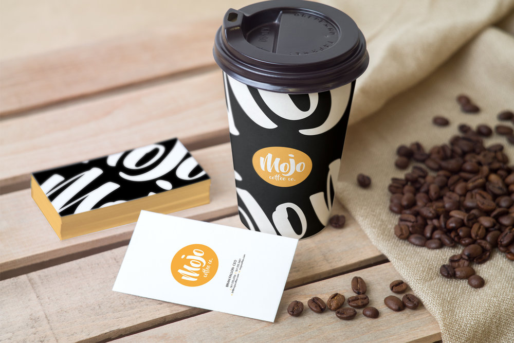 Business cards and logo on packaging design