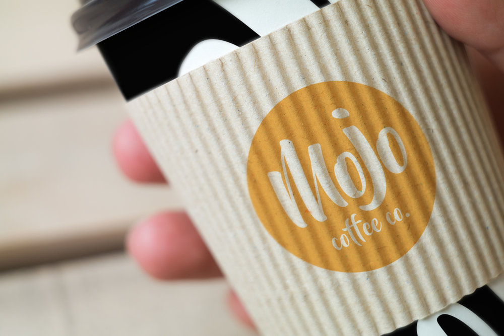 Logo on coffee cup sleeve