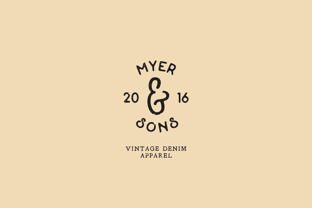 tan logo for Myer and Sons vintage denim apparel