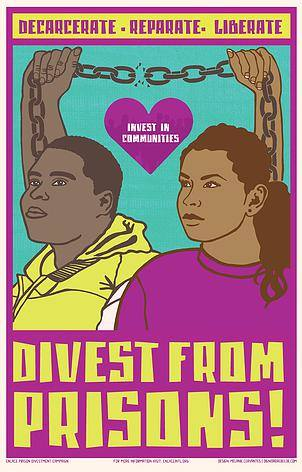 Poster from 2015 National Prison Divestment Convening, organized by a large coalition including CJI Grantees, ENLACE and BAJI
