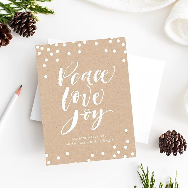 Peace, Love and Joy. Another look at our 2017 Holiday Card collection available soon on our website. We are pleased to offer 10% off all orders placed in the month of October. Use code: HOLIDAY10 #peacelovejoy #holidaycard #droletpaperie #foilstamping #letterpress #itsallinthedetails