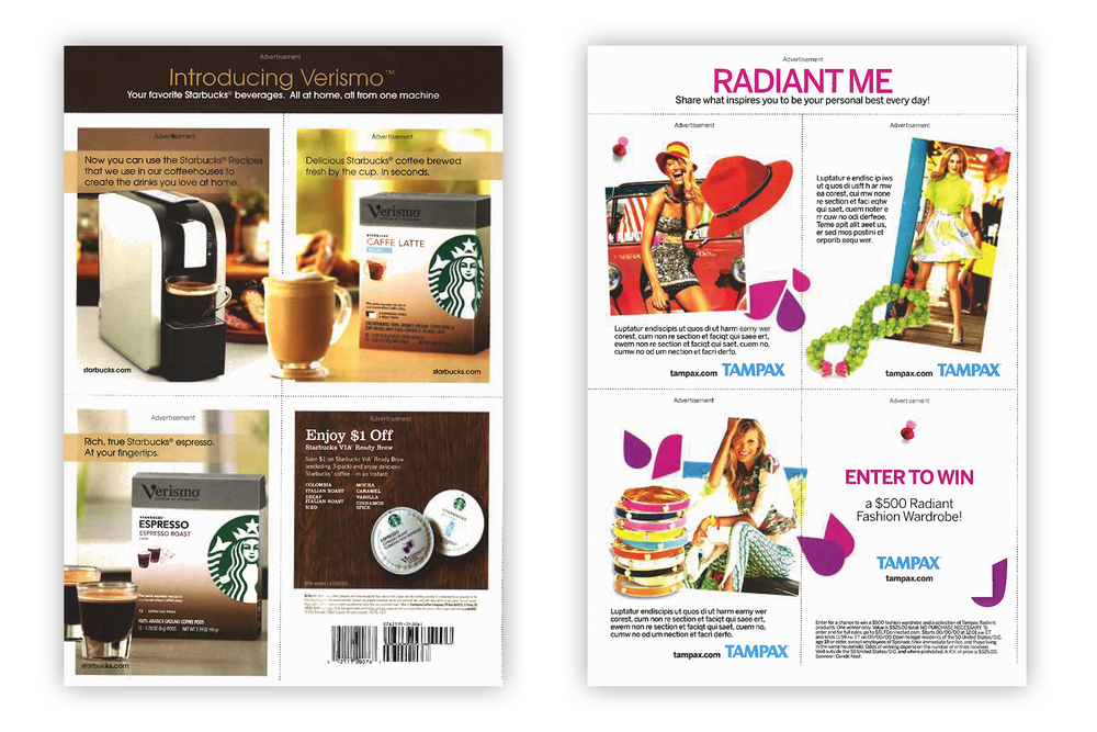 Tear out cards for Starbucks and Tampax advertorials