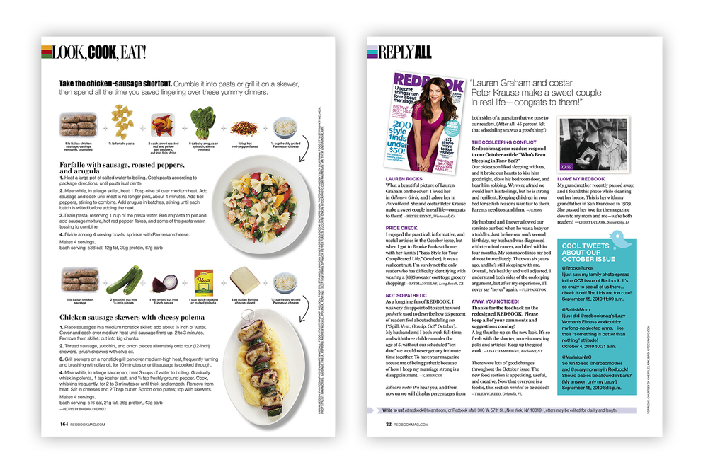 "Redbook ""Look, Cook, Eat"" and ""Reply All"" (ask-the-editor) pages."