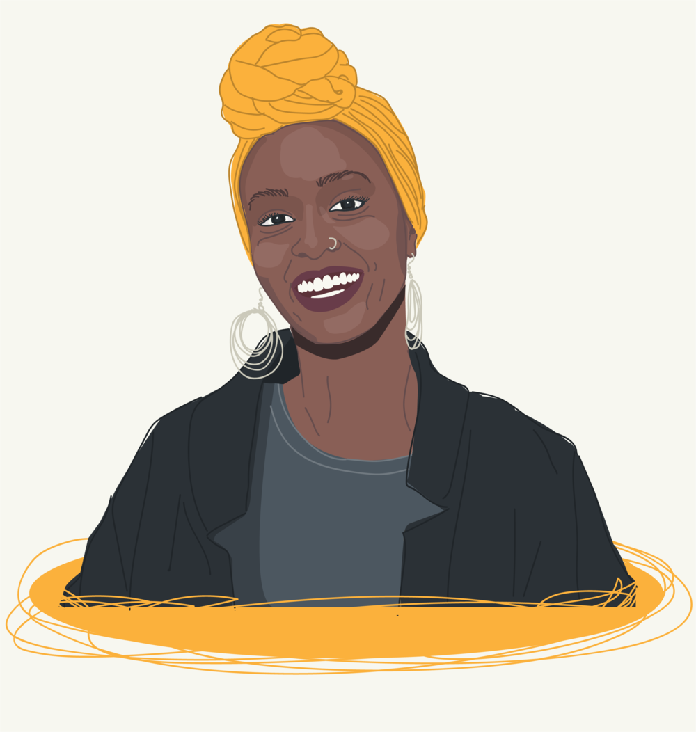 Beautiful black woman with head scarf illustration