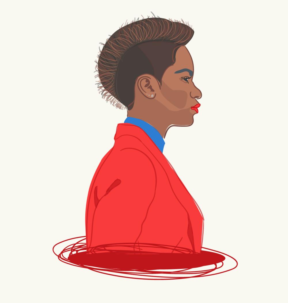 Beautiful black woman with mohawk illustration