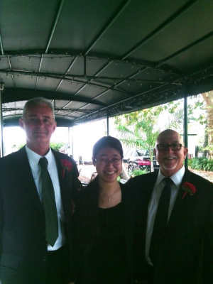 Dennis, Vivien, and Tom, wedding ceremony and reception, Stranahan House, Fort Lauderdale, Florida