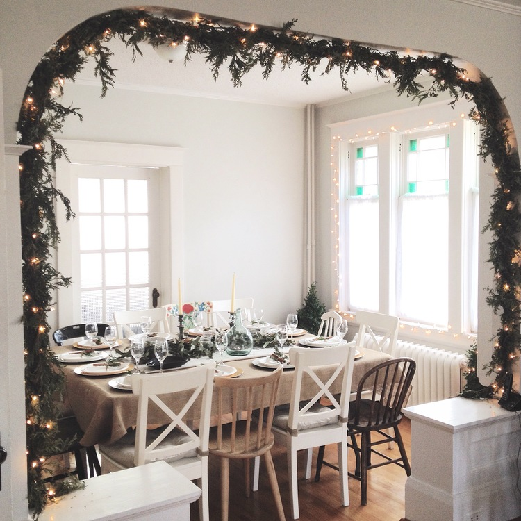 Holiday Dinner - A Christmas party with friends and homemade comfort food. Winter arrangements, garlands and wreaths were created to adorn the 19th century home. Handmade decor with metallic accents added a touch of sparkle.