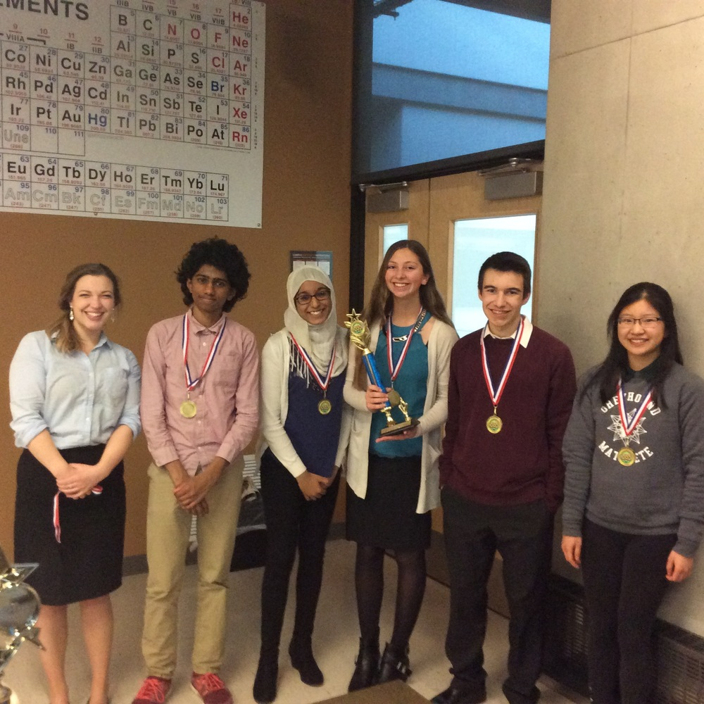 The 2016 PHS Varsity Science Bowl Team after a hard-fought second place finish at regionals. Pictured (Left to Right): Coach Brown, Shyam Venkatasubramanian, Aasiya Islam, Jacquie McAleer, Andrew Cohen, and Dana Lu