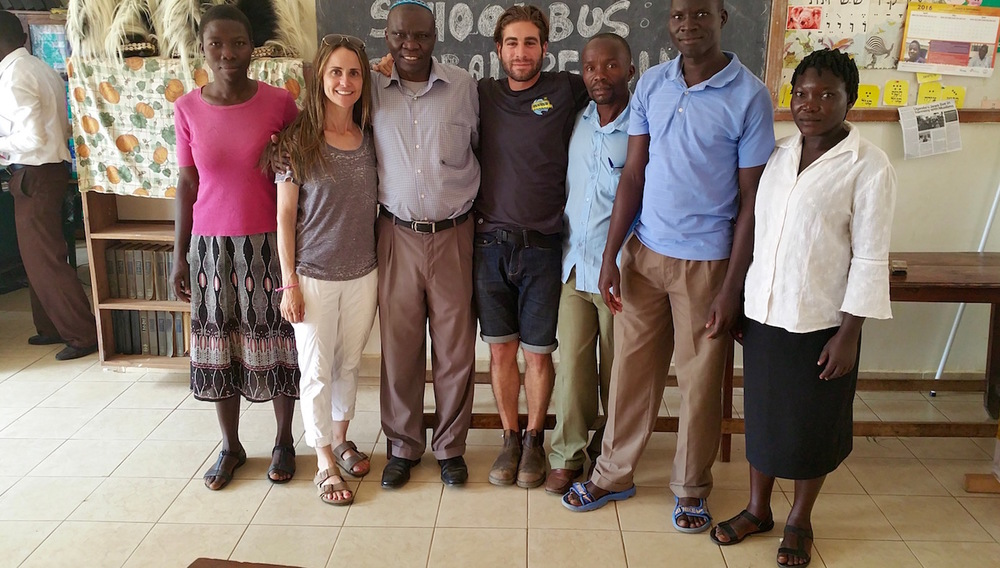 Our Global Reading Program (GRP) Team in Uganda (right to left): Betty (English Teacher), Michelle, Aaron Moses (Headmaster), Aaron Friedland, Saul (English Teacher), Maxwell (Head of English), Juliet (English Teacher).