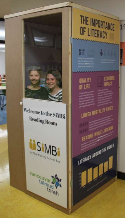 The Walking School Bus assembled several SiMBi Reading Rooms at Vancouver Talmud Torah School where students recorded 187 books. Photo: Jennifer Shecter-Balin