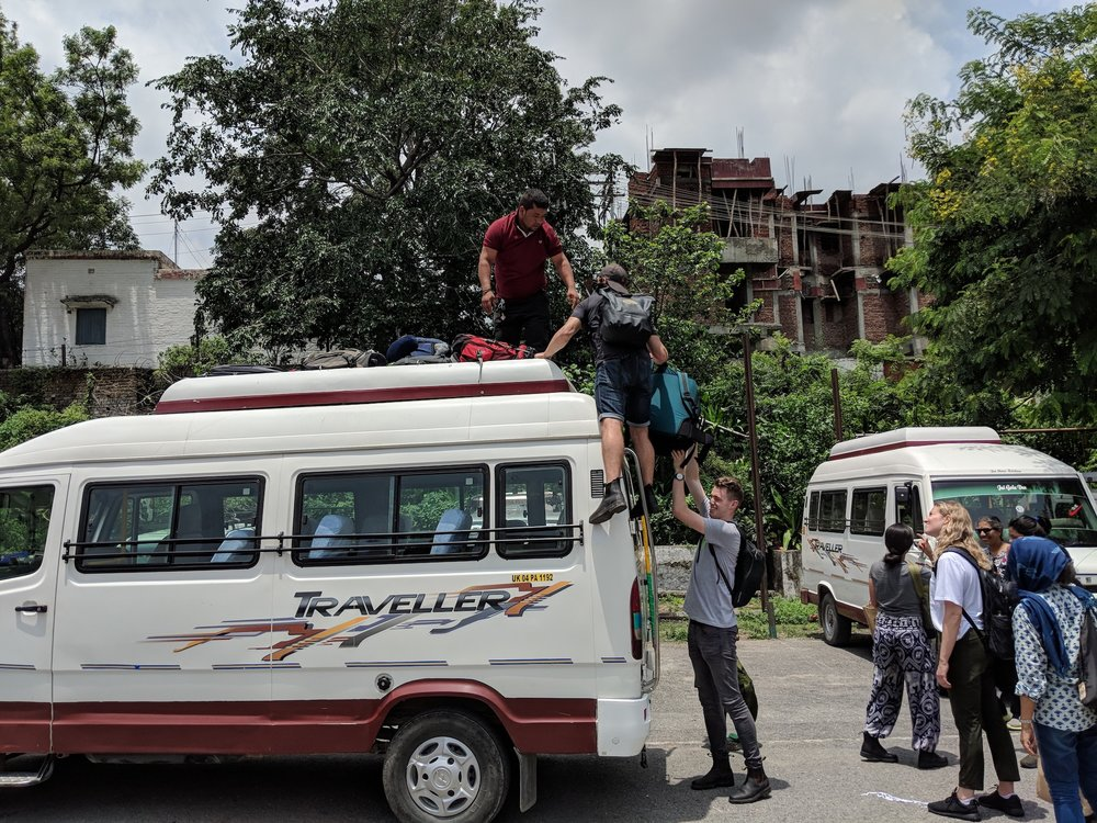 Loading the bus for the road up to Uttarakhand!