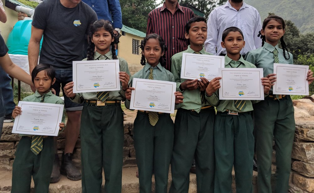 New TWSB Scholars in India receiving their scholarships during their first week of school in July, 2018.  Uttarakhand, India