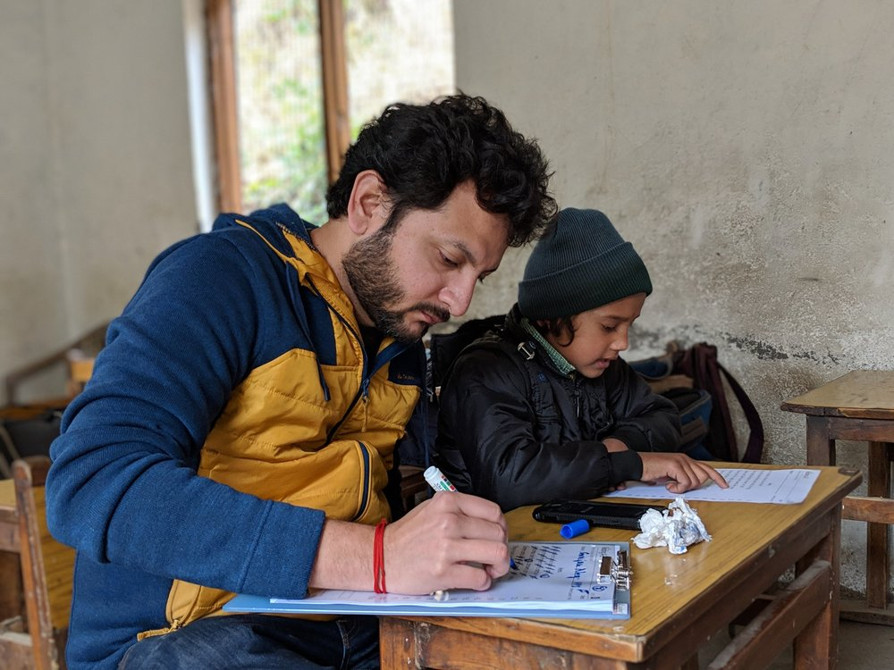 A research working with The Walking School Bus records data on access to education while in Uttarakhand, India